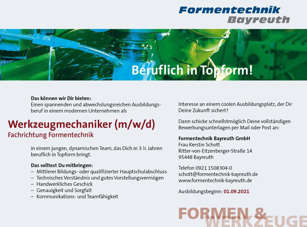 Formentechnik Ausbildungs Anzeige 2020